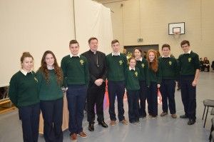 Bishop Franc is with students